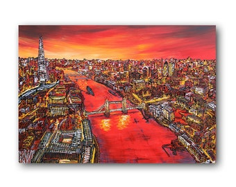"London Art, London Skyline, Red Painting, Abstract Textured Painting, Textured Canvas Art, ""The Shard"" 24x36"" by SFBFineArt"