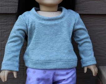 """Grey Pull-Over Sweater for 18"""" Dolls like American Girl"""