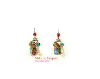 Multicolor dangling earrings Bollywood for pierced ears