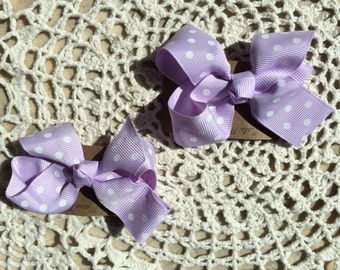 Purple & White Polka Dot Bows