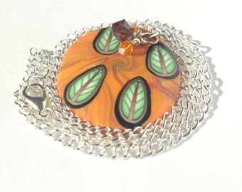 Leaf Pendant Necklace. Autumn Jewelry, Polymer Clay, Handmade, OOAK, Autumn Leaves, Fall Jewelry, One Of A Kind