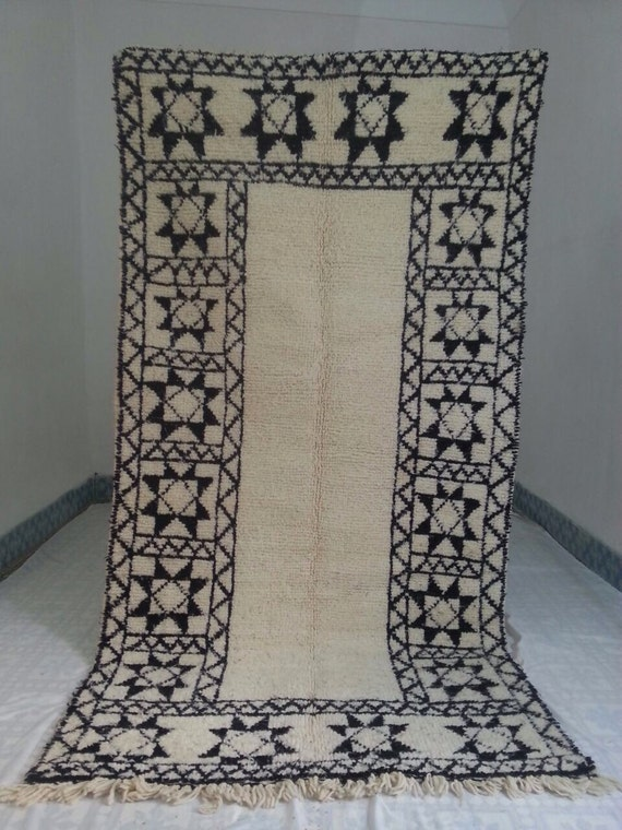 Moroccan Rug Black And White Beni Ourain Wool Souk Rug 7 Ft