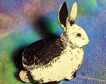 Black and White Rabbit Pin