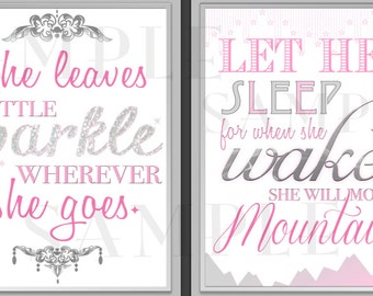 "PRINTABLE baby GIRL gray and pink Nursery Wall Art Decor Sayings ""She leaves a sparkle"" and ""Let Her Sleep"" Matching set of 2 - 11x14"