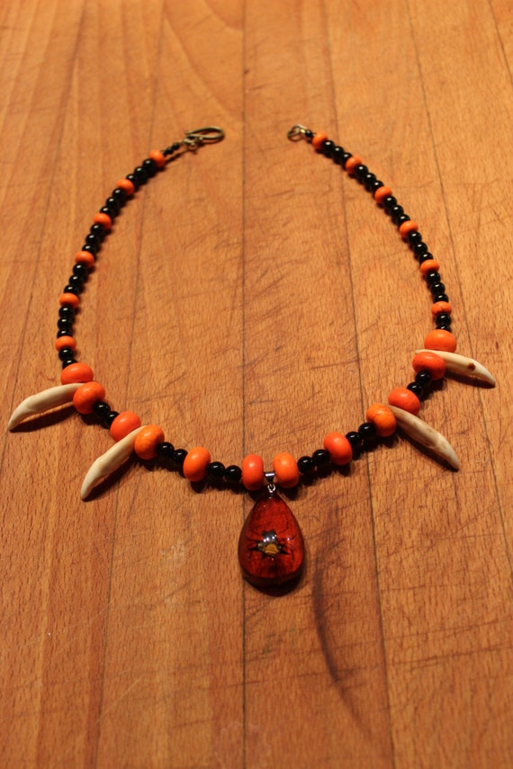 "Wolf Tooth Necklace Spider Pendant 20"".with Orange Turquoise  Black Agate African Spiritual Native Unique handmade Custom Handcrafted Tribal"