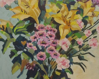 Lilliums and Carnations/ original oil painting / stretched canvas panel/ ready to hang/45x60cm