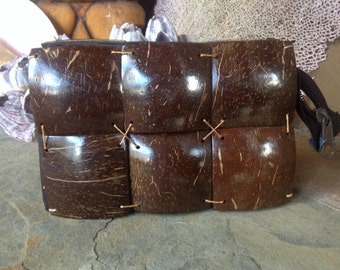 COCONUT CLUTCH PURSE Vintage Lined Clutch Made Of Coconut Shell