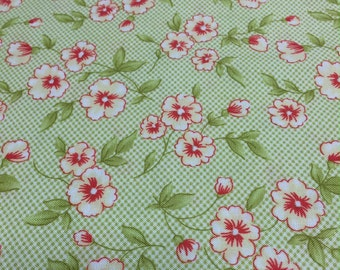 Moda Farmhouse Lime Green Small Floral By the yard