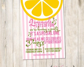 Lemonade Birthday Invite, Lemonade Party Invite, Lemonade and Fun Invite, Lemonade Invite, Lemonade Invitation, Lemonade Birthday Party