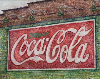 Coca-Cola Mural in Downtown Roanoke - Original Pastel & Watercolor