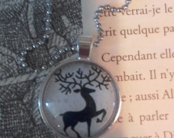 Necklace blue jewel deer Elvish
