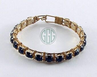 Bracelet - Sapphire Blue Rhinestones (B021)