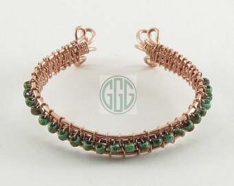 Bracelet - Turquoise Green Picasso Seed Beads Wired On Copper (B029)