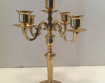 Brass 5 Arm Candelabra ~ 5 Head Brass Candleholder ~ Japan ~ Gold Candleholder ~ Candle holder ~ Vintage