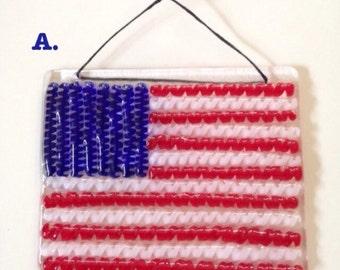 American flag fused glass latticino