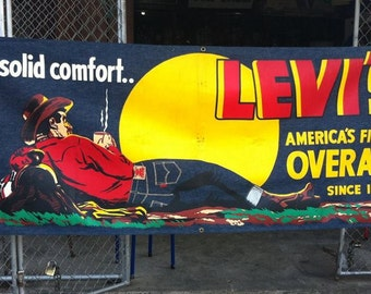 Vintage 50's Levis Denim Store Banner Silkscreen Cowboy Advertisment