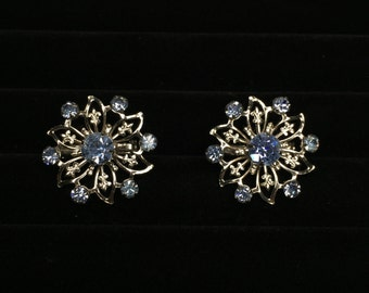 Two cute retro sparkly flower pins