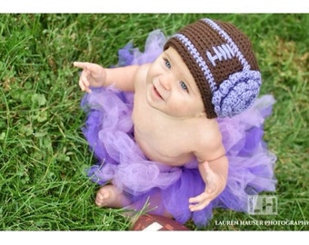 Baby Football Hat, Football Crochet Hat, Baby Girl Football Hat, Newborn Football Hat, Football Baby Clothes, Baby Ravens Football Hat