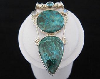 Azurite in Malachite, Blue Topaz, Labradorite Sterling Silver Pendant (S34)