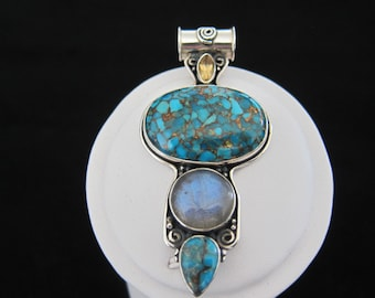 Blue Mohave Turquoise, Moonstone, Citrine Sterling Silver Pendant (S27)