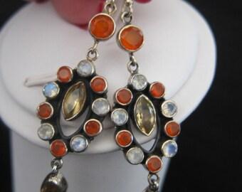Citrine, Carnelian, Moonstone, Sterling Silver Earrings (S125)