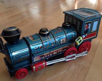 Vintage Modern Toys Western Tin Lithograph Train Locomotive Engine ~ Japan Tin Toys ~ Vintage Tin Toys ~ Toy Train ~ Railroad Train Engine
