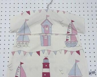 Modern Nautical, Coastal, Cornish, Boat Fabric Peg bag. Clothespin bag, Clothes peg bag. Laundry washing peg bag. Peg Made in Cornwall.