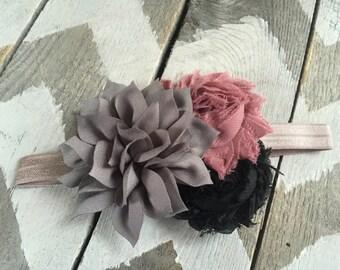 Baby Headband -  Rose Mauve Pink, Black, and Gray Headband - Toddler Headband