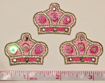 Crystal pink crown patch sequin applique for hair bows and more