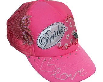 Neon pink BRIDE custom handmade mesh hat