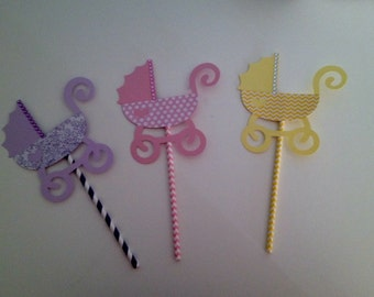 Set of Nine - Pink, Purple & Yellow - Baby Carriage Centerpiece Decoration/Pick for Baby Shower or Baby Girl