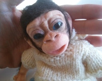OOAK handmade fimo monkey.NO MOLD used .20 cm, poseable.
