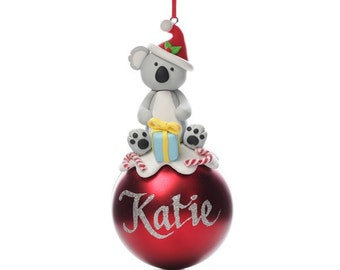 Personalised Red Koala Christmas Character