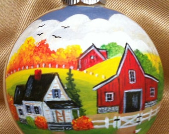 Hand Painted Autumn Ornament