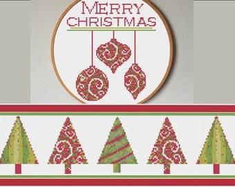 SALE Cross Stitch Pattern, Modern Christmas Cross Stitch Pattern, 2 Patterns - 8 Dollars, PDF - Holiday Cross Stitch, Christmas Decoration
