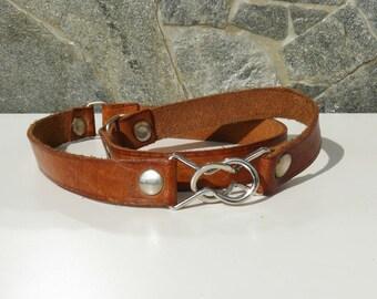 Vintage Bulgarian Brown Leather Belt, Women belt with interesting metal lock