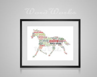 "Personalised Horse Word Art  **Buy 3 prints get the 4th FREE**  Use coupon code "" MYFREEONE """