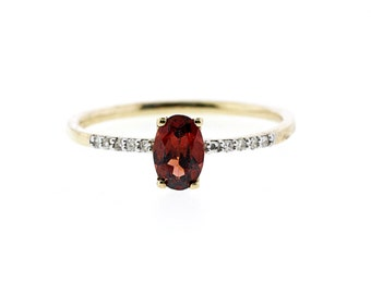 Birthstone For January- 10k Garnet and Diamond ring - S7