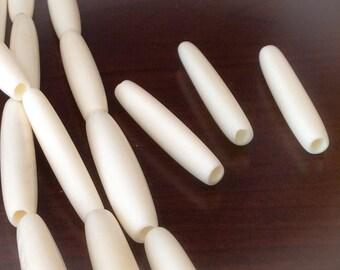 """White bone beads 1 1/2"""" hairpipe 10pc"""