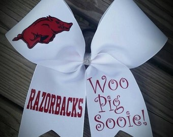 Razorback. Hogs.  Cheer bow. Hair Bow. Razorbacks. Woo Pig Sooie. Razorback bow.