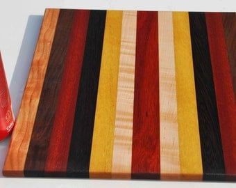 Mixed Rare Hardwoods, Curly and Naturally Exotic Colored Cutting Board Butcher Block  A splash of color for the home.