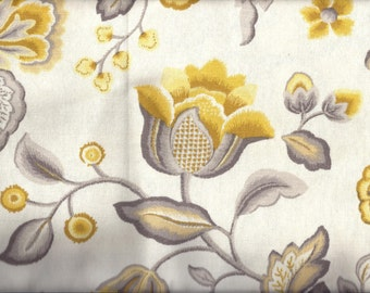 Yellow Gray Floral Curtain Valance