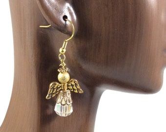 Gold Crystal Angel Earrings,  Christian Earrings, Christian Gift,   Guardian Angel Earrings, Quinceañera Gift, Christian Jewelry