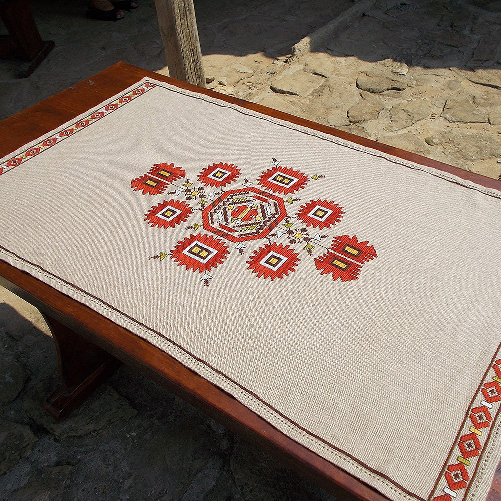 Hand embroidered table cloth cross stitch by