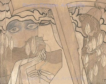 "Jan Toorop ""The Desire and The Satisfaction"" 1893 Reproduction Digital Print Vintage  Art Nouveau"