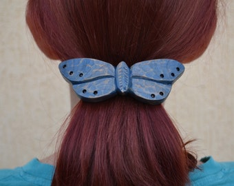 Womens Gift, Gift for Women, Hair Barrette, Hair Clip,Blue, Butterfly, Barrette, Hair Pin, Hair Stick,Slide, Wooden Shawl Pin,Hair, Carving