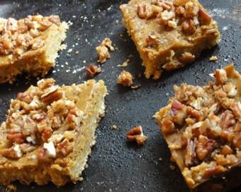 6  pumpkin oat pecan slices, oat pumpkin pastry, fall season pastry