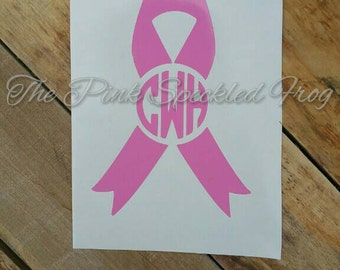 Breast cancer decal find the cure decal monogram decals car decals yeti cup decals pink decals