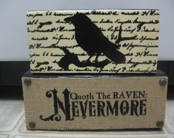 Halloween Decor-Fall Decor-Quoth The Raven Wood Blocks-Halloween Shelf Sitters-Halloween Signs