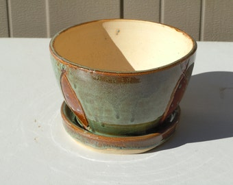 Hand Made Hand Thrown Wheel Thrown Hand Carved Ceramic Pottery Planter Plant Pot Flower Pot Planter and Tray Green and Brown